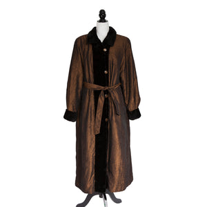 Black Sheared Mink Section Long Coat Reversible to Cognac Fabric