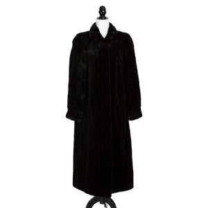 Black Sheared Mink Section Reversible to Olive Rainwear