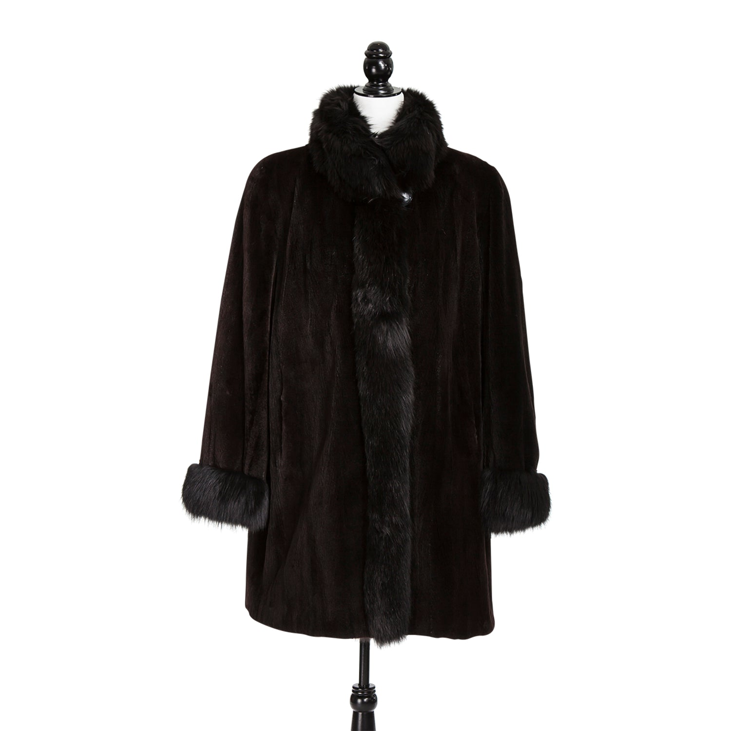Brown Sheared Mink Fox Trim Short Coat