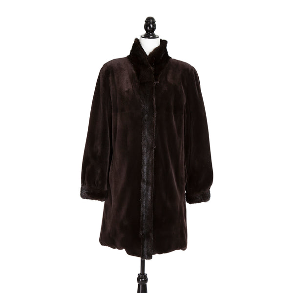 Dark Brown Sheared Mink Coat w/Long Hair Mink Trim