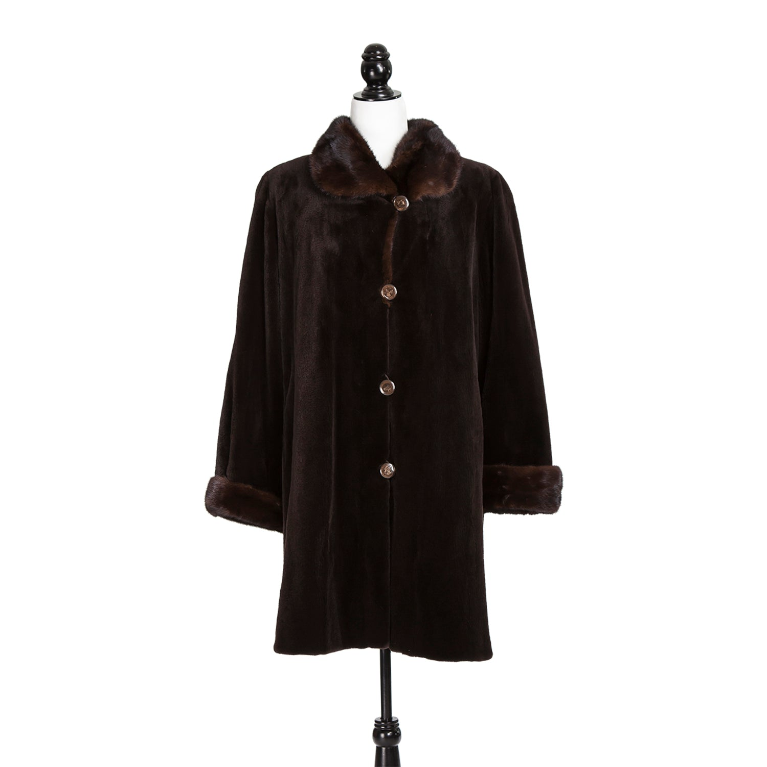 Dark Brown Sheared Mink Short Coat with Long Hair Trim