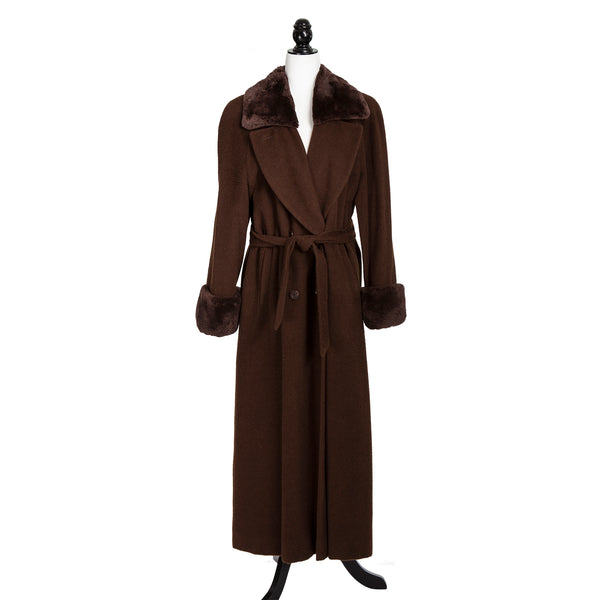 Baby Alpaca Long Brown Trench Coat with Belt