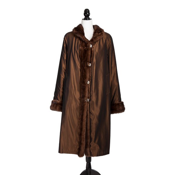 Demi Buff Mink Coat Reversible to Rainwear