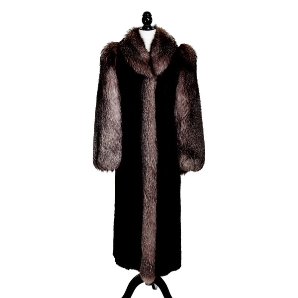 Black Mink Sectional Coat with Indigo Fox Trim