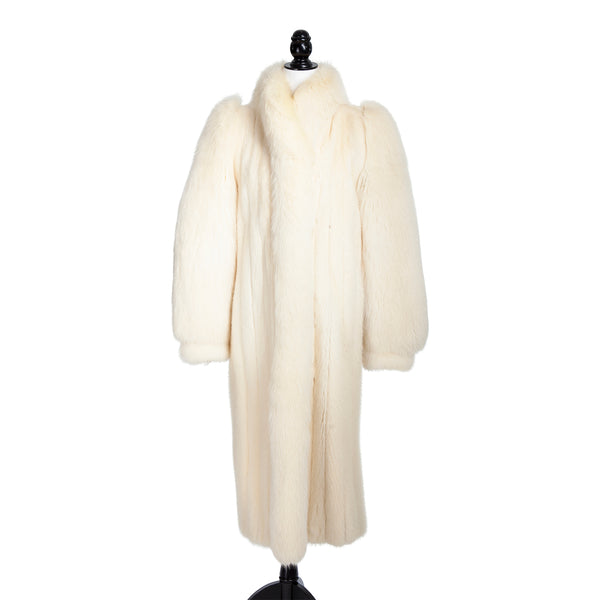 Ivory Mink Long Coat with Fox Trim