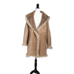 Giuliana Teso Baby Lamb Stone Coat with Fox Trim