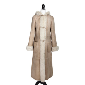Stone Italian Long Shearling Coat