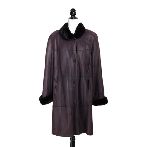 Purple Christ Curly Lamb Coat with Beaver Trim