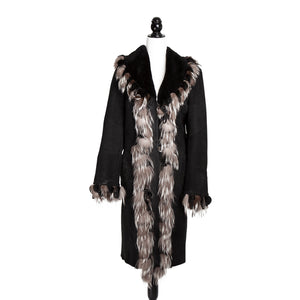 Black Shearling Italian Silver Fox Trim with Beaded Embroidery
