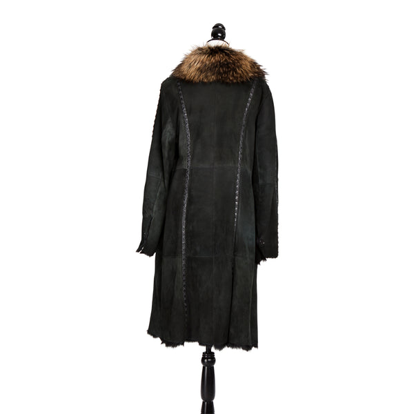 Black Shearling Coat with Fox Trim