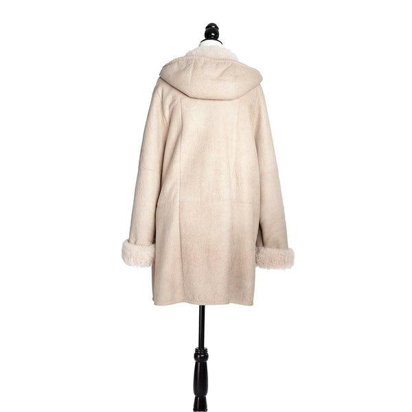 Ivory Cashmere Lamb Coat with Hood