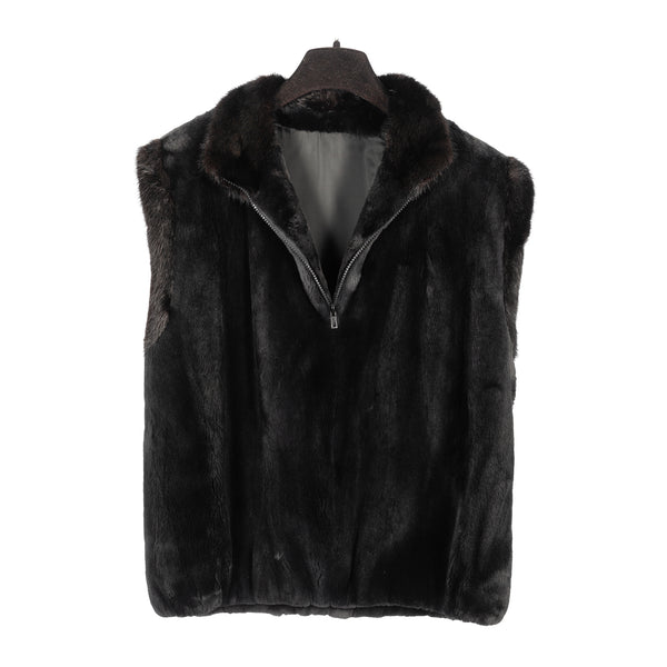 Onyx Sheared Beaver Pullover Vest with Mink Trim