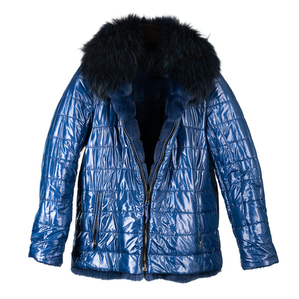 Cobalt Blue Reversible Rabbit and Fox Down Filled Zipper Jacket