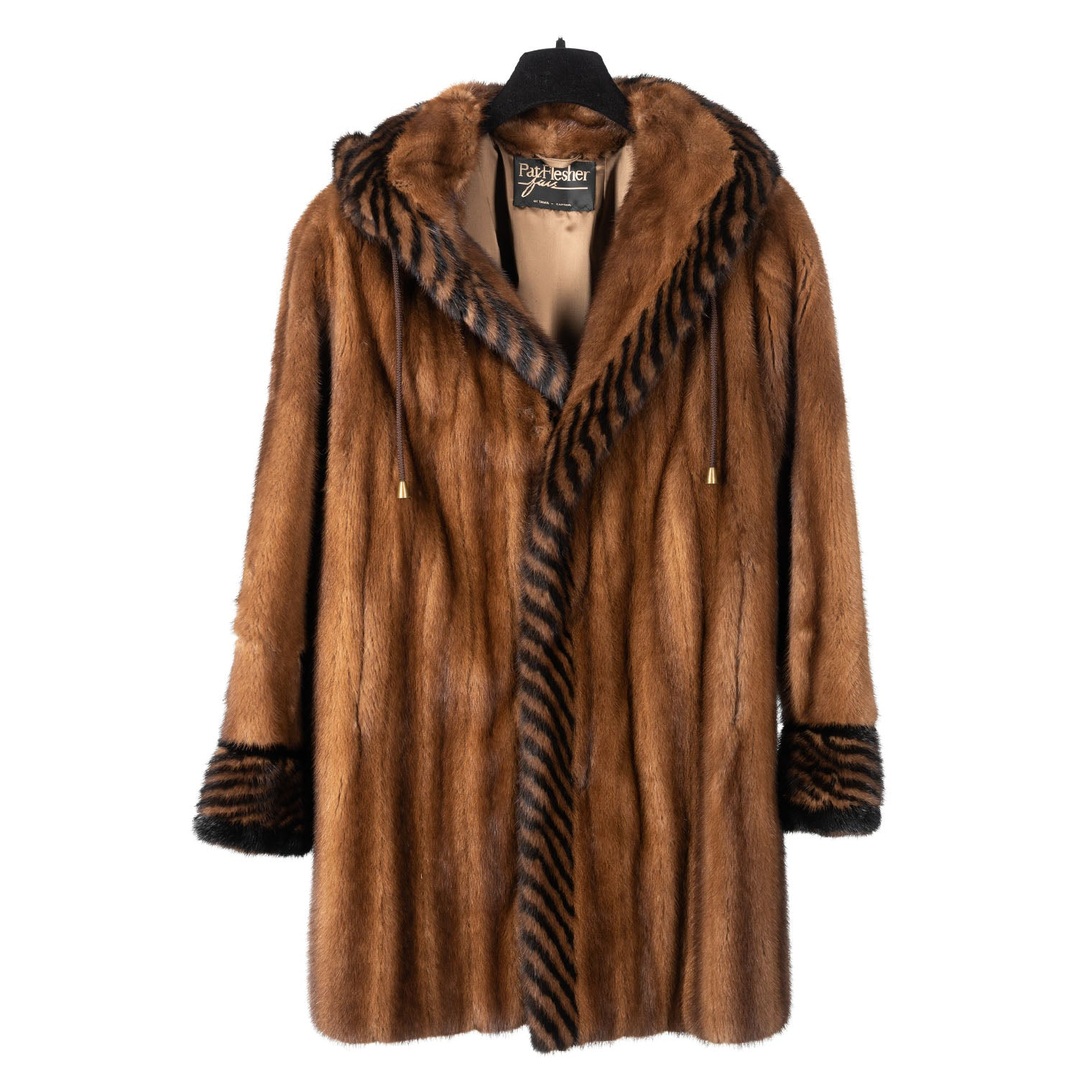 Demi Buff Mink Car Coat with Two Tone Rope Design & Detachable Hood