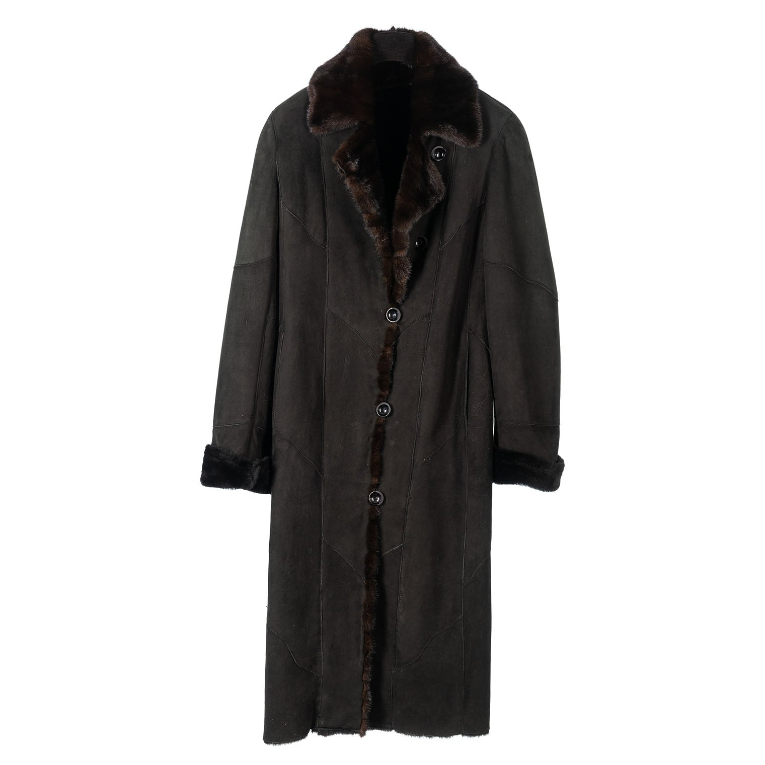 Black Merino Lamb Shearling Coat with Dark Ranch Mink Trim