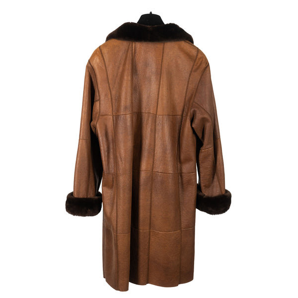 Whiskey Curly Lamb Short Coat with Sheared Nutria Trim