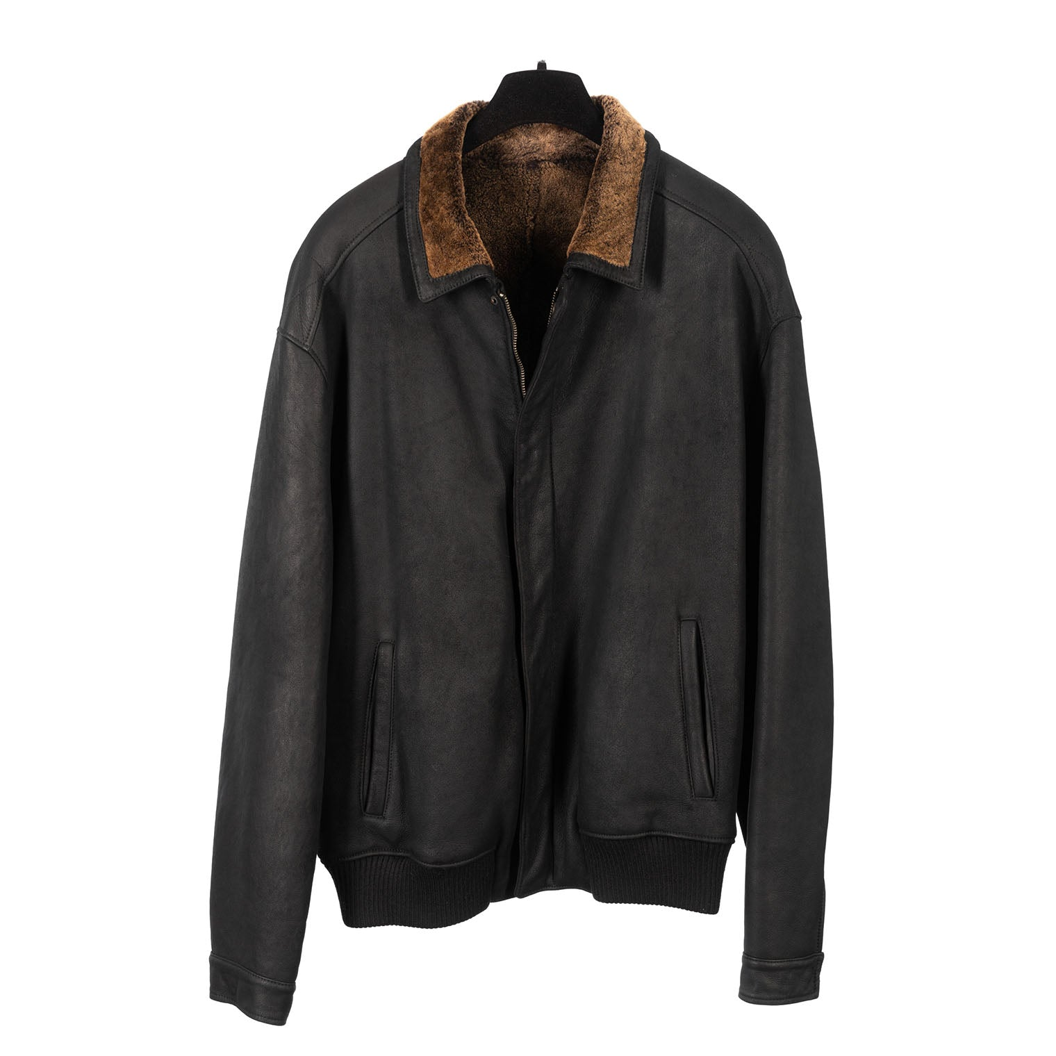 Men's Black Shearling Bomber Jacket