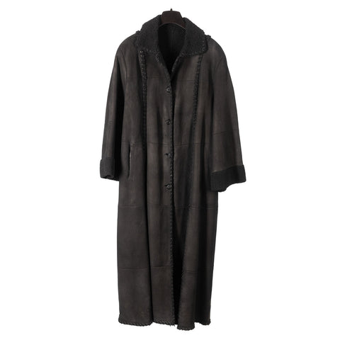 Black Curly Lamb Full Length Coat with Braided Rope Design