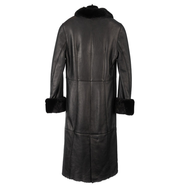 Black Full Length Shearling Coat with Black Mink Trim