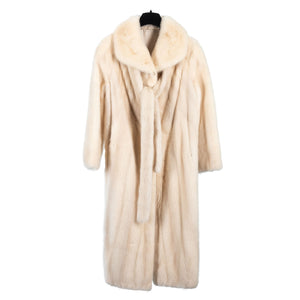 Ivory Male Mink Full Length Coat with Scarf/Belt