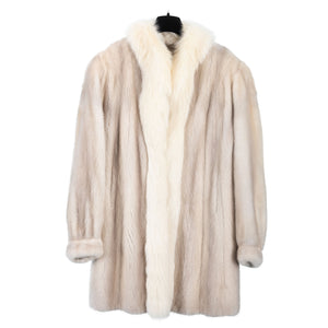 Ecru Male Mink Car Coat with Shadow Fox Trim