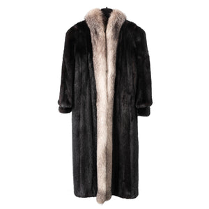 Black Mink Coat with Indigo Silver Fox Trim