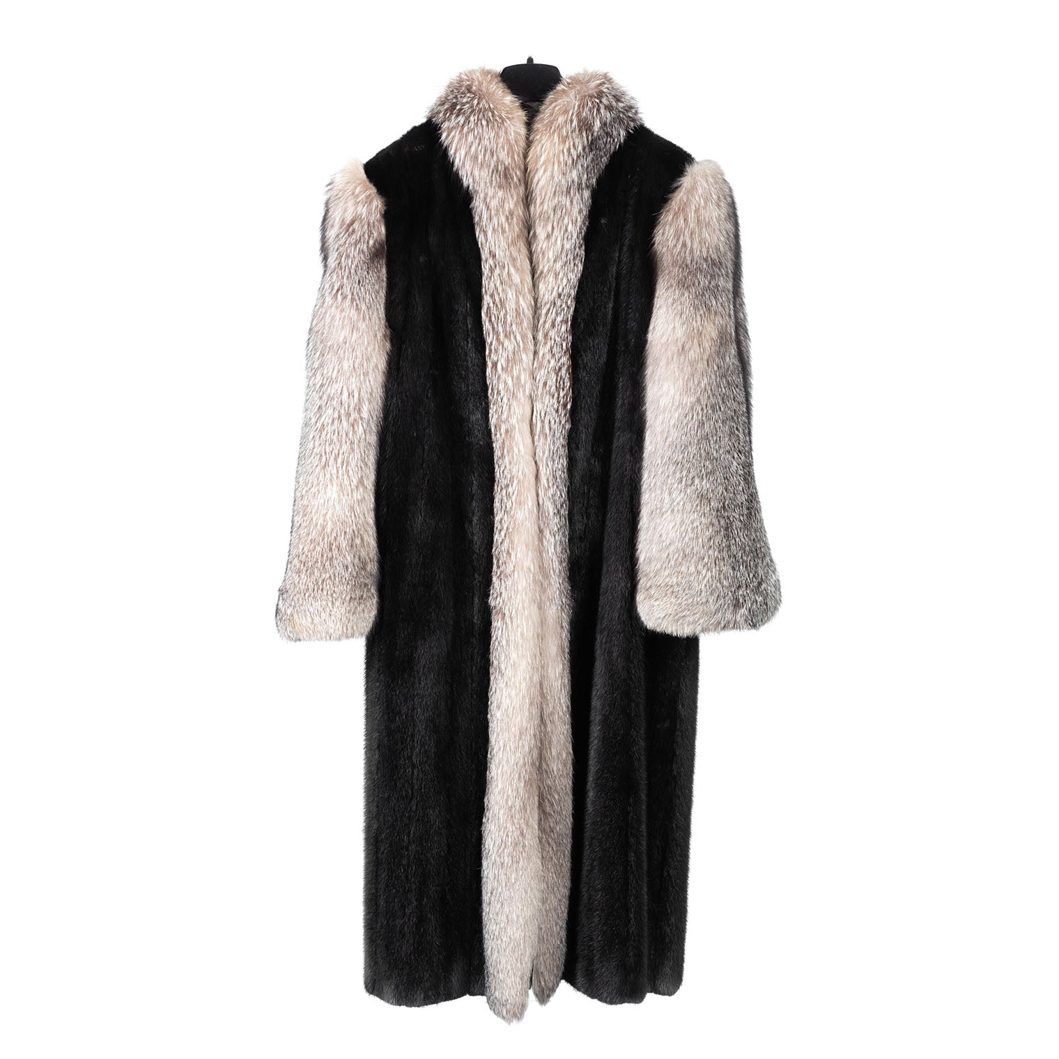 Black Mink Coat with Silver Fox Sleeves & Front