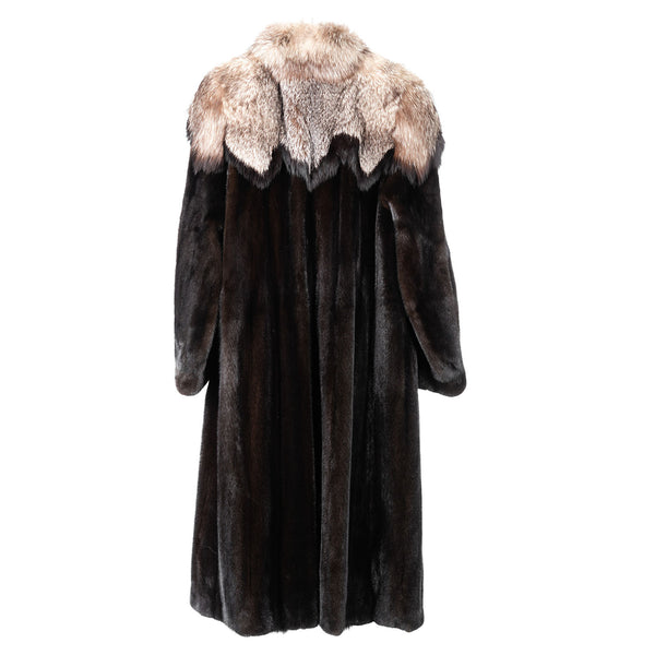 Dark Ranch Male Mink Full Length Coat with Silver Fox Crown Design