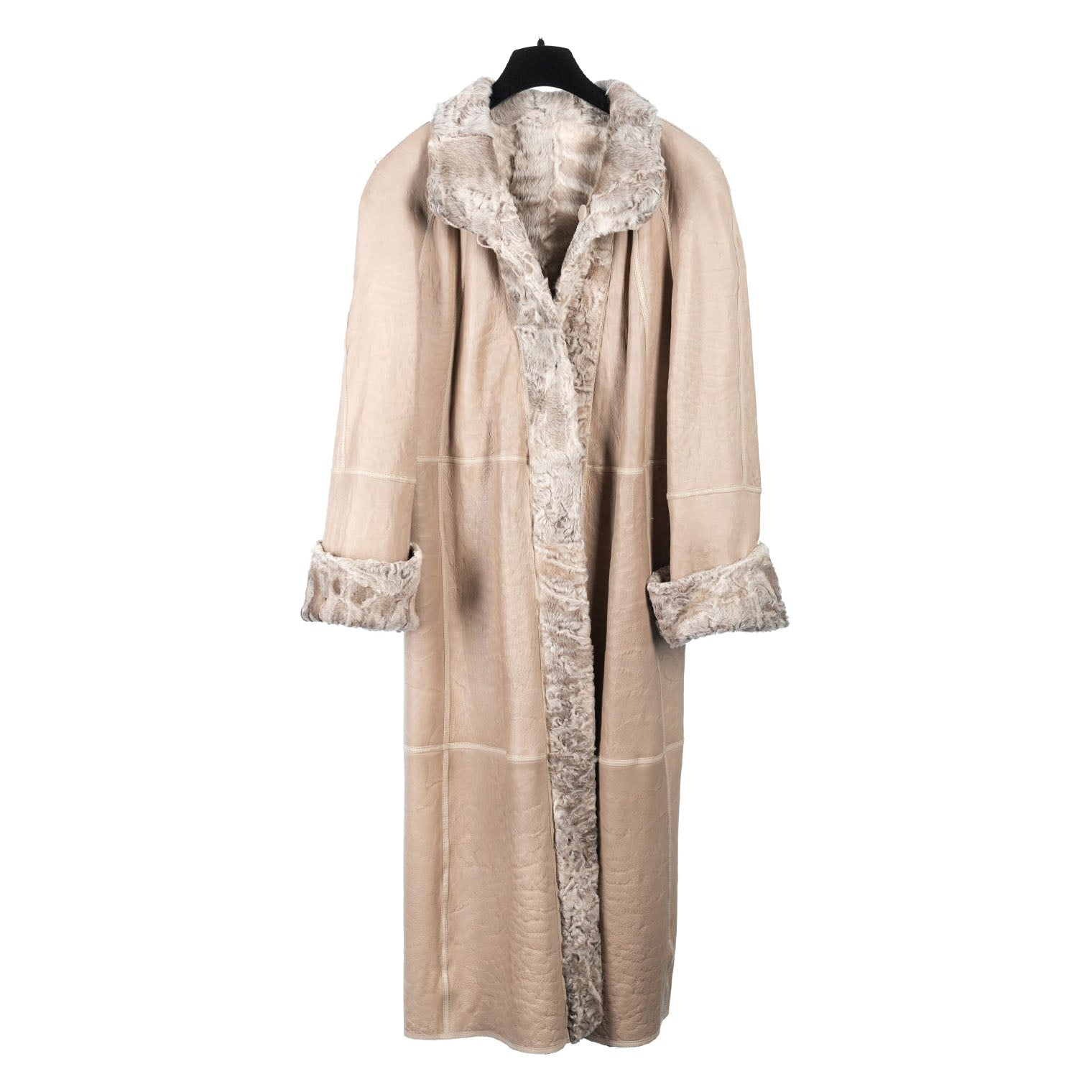 Reversible Double Face Taupe Persian Lamb/Napa Full Length Coat