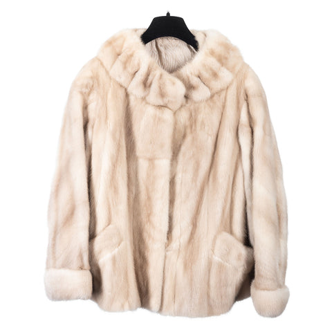 Vintage Ivory Mink Jacket with Opera Collar