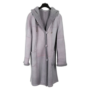 Lilac Curly Lamb Short Coat with Hood