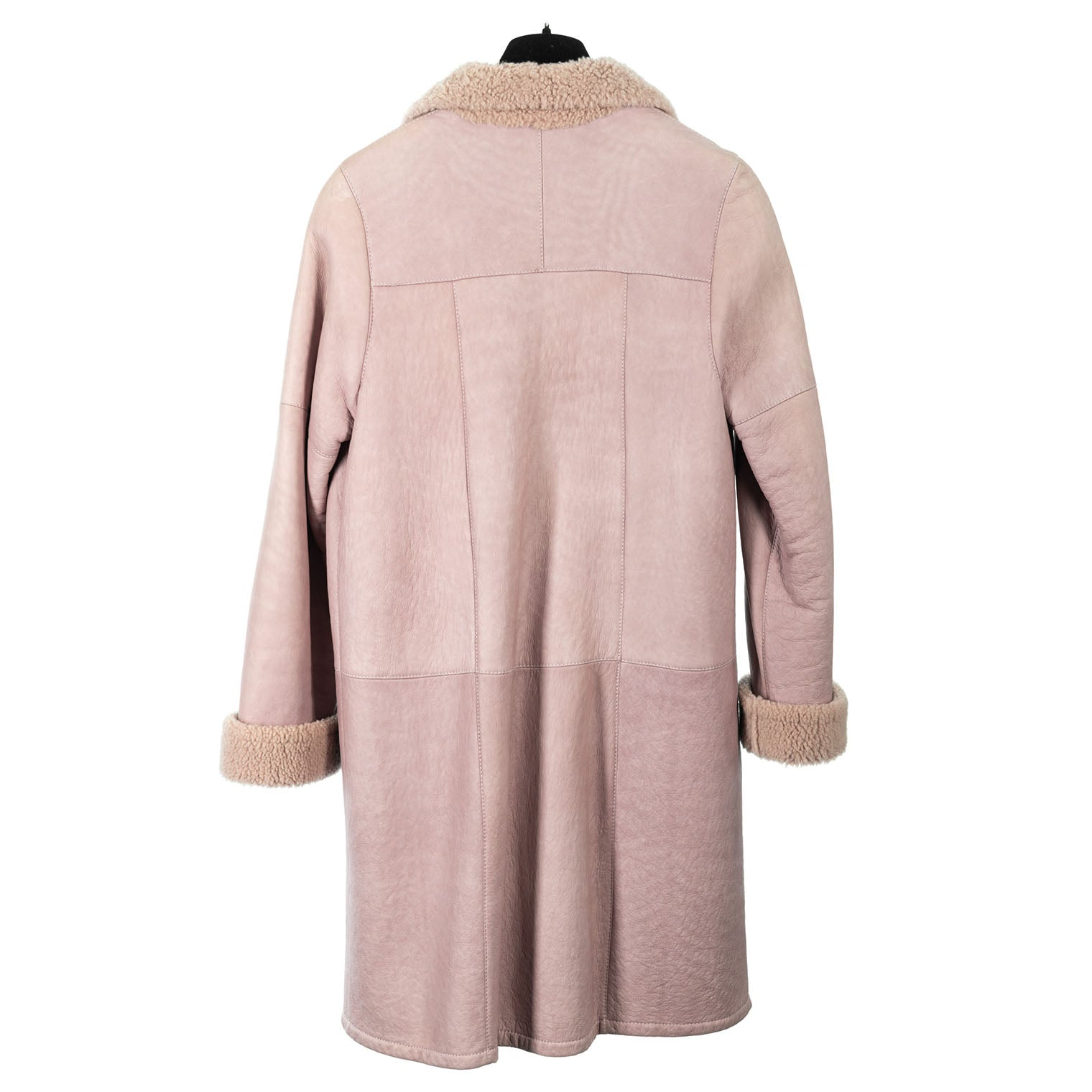 Dusty Rose Curly Lamb Short Coat