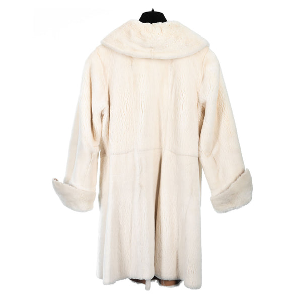 Double Face Ivory Sheared Mink to Hide Short Coat