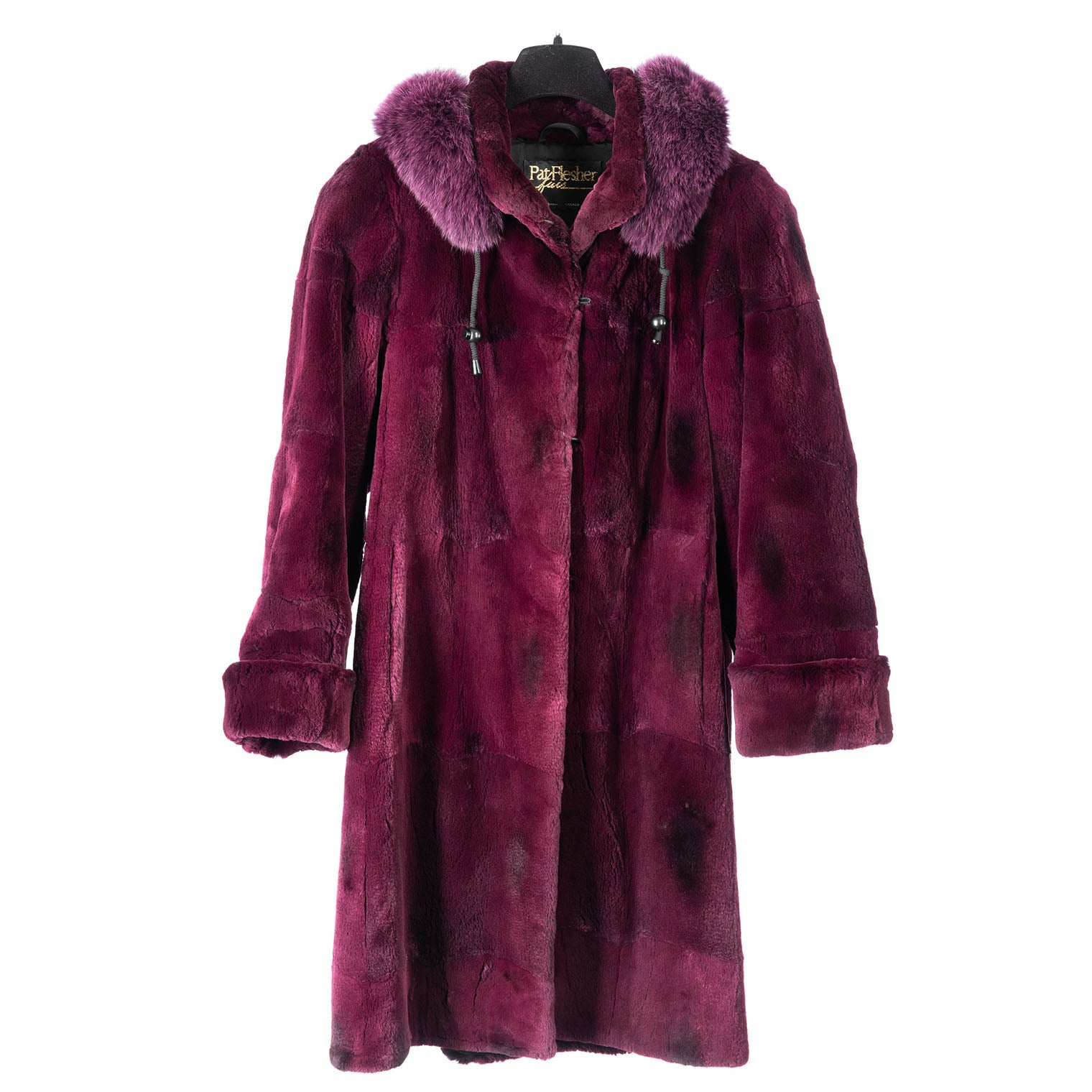 Cranberry Sheared Muskrat Car Coat with Fox Trim