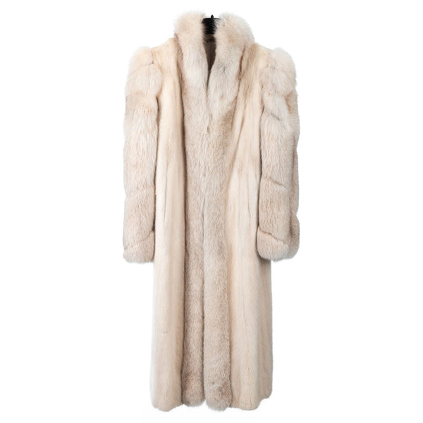 Rose Beige Mink Coat with Fox Tuxedo/Sleeves