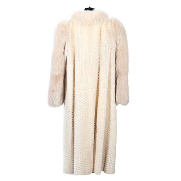 Checkerboard Ivory Mink Coat with Fox Tuxedo/Sleeves