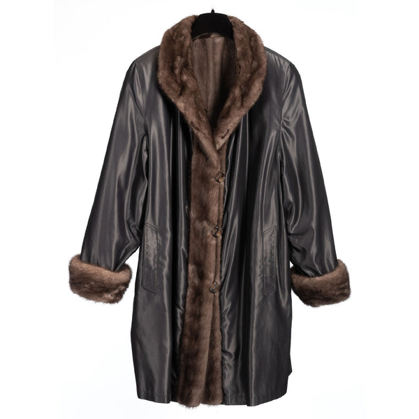 Silver Sheared Mink Car Coat with Blue Iris Mink Trim, Reversible to Grey All Weather Taffeta
