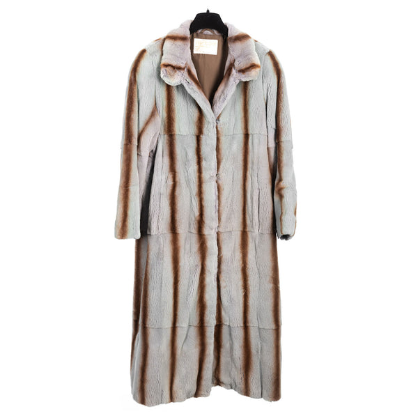 Grey Sheared Kolinsky Full Length Coat