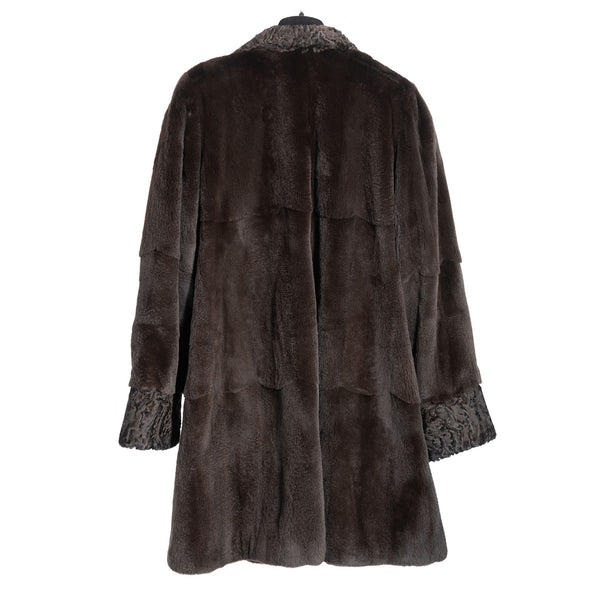Brown Sheared Mink with Persian Lamb Trim Reversible to Rainwear Taffeta