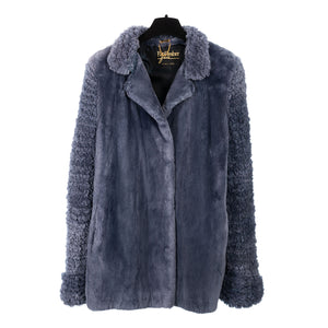 Denim Blue Sheared Beaver Jacket with Knit Sheared Beaver Sleeves