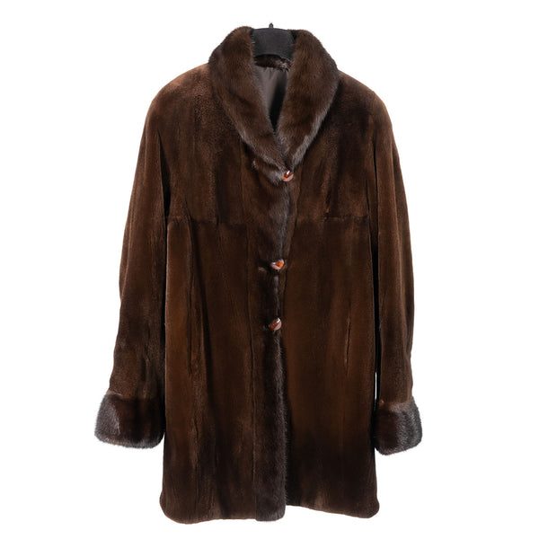 Brown Sheared Mink Car Coat