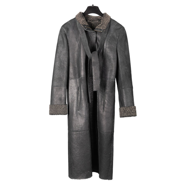 Black Curly Lamb Zippered Coat with Belt