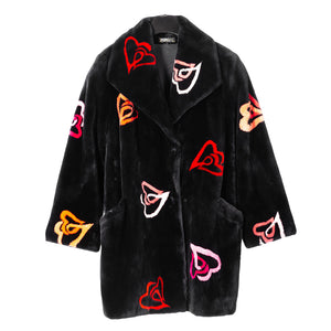 Zuki Original Hearts Design Sheared Beaver Car Coat
