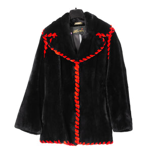 Zuki Black Sheared Beaver Red Rope Trim Jacket