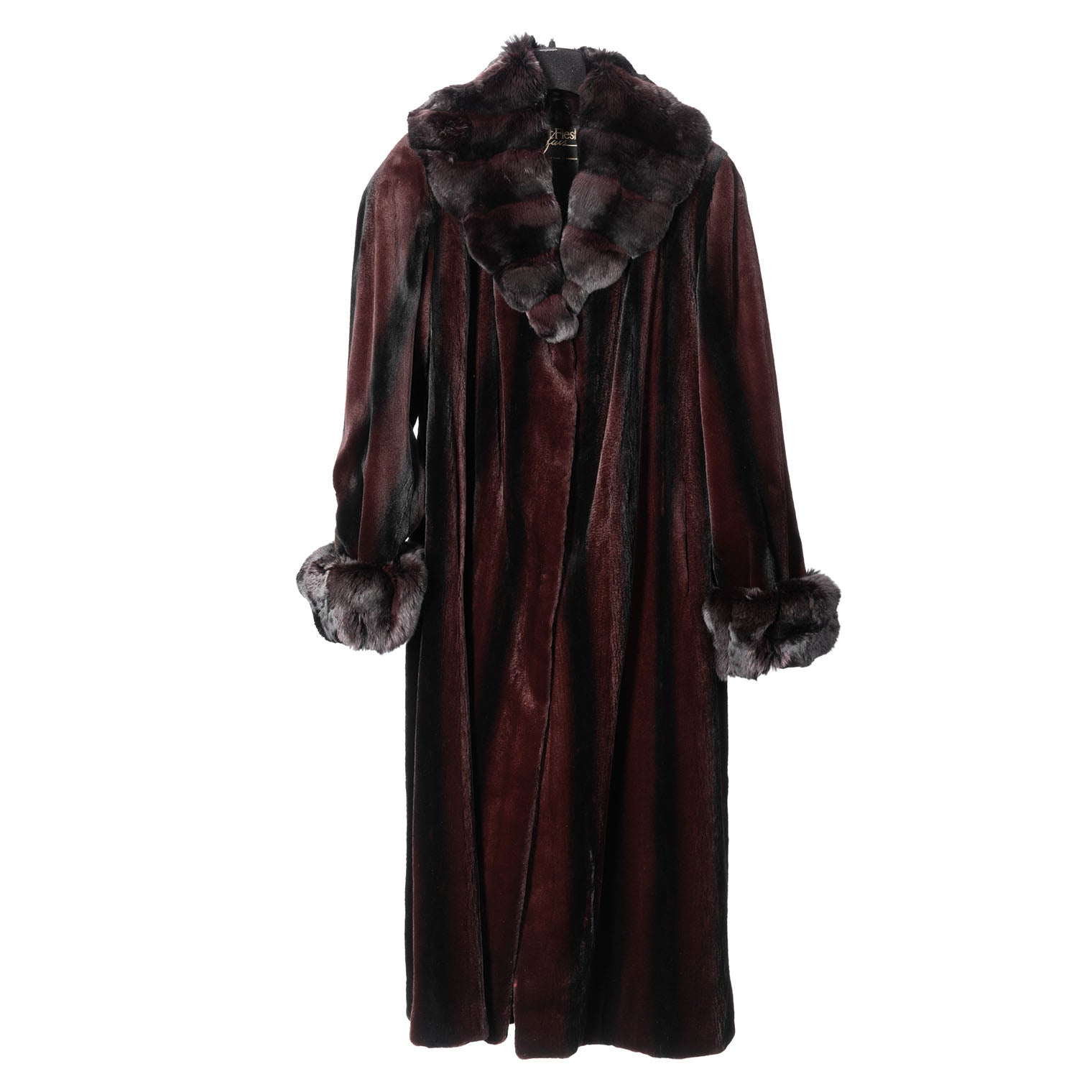 Bordeaux Degrade Sheared Mink Coat with Chinchilla Collar/Cuffs