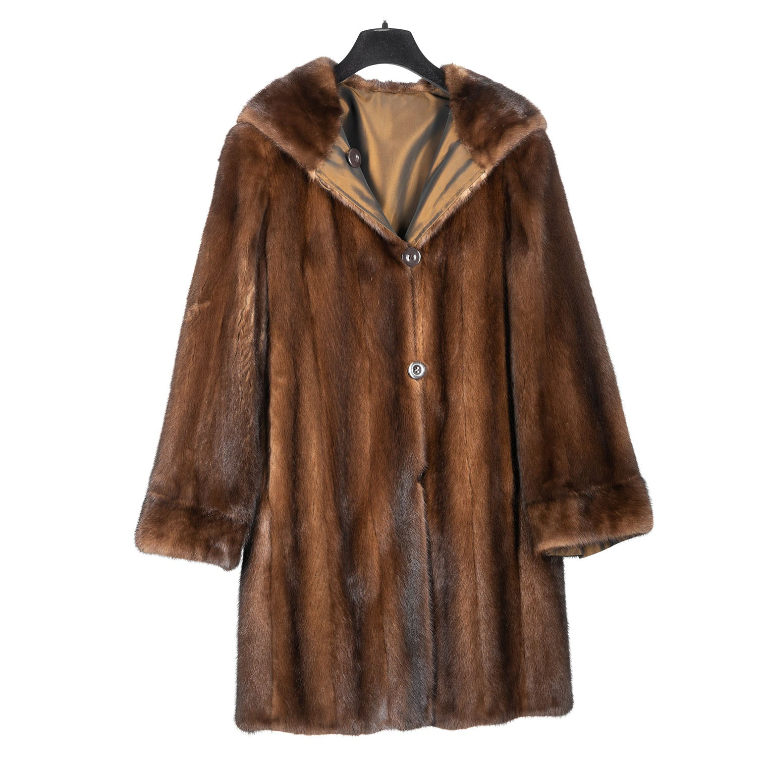 Hooded Demi Buff Reversible Mink Trotter Coat