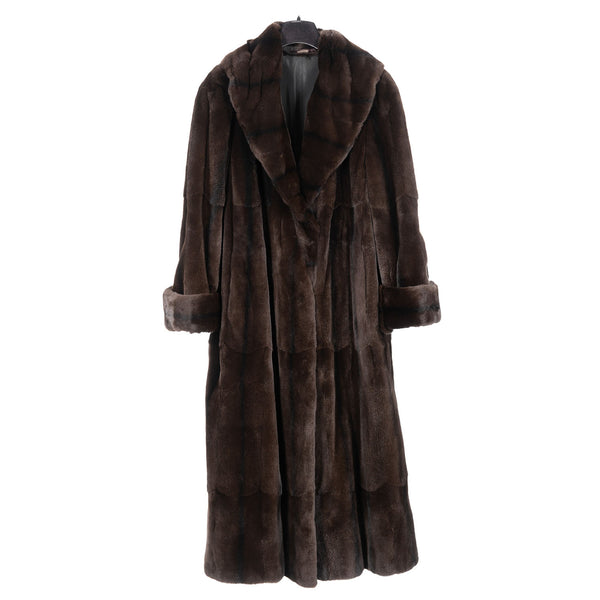 Brown Sheared Asian Mink Reversible Rainsilk Coat