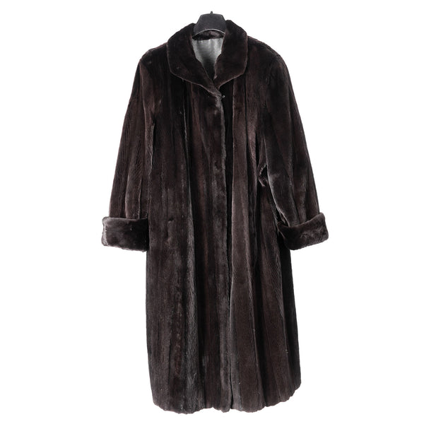 Black Sheared Mink Reversible to Grey Taffeta Raincoat