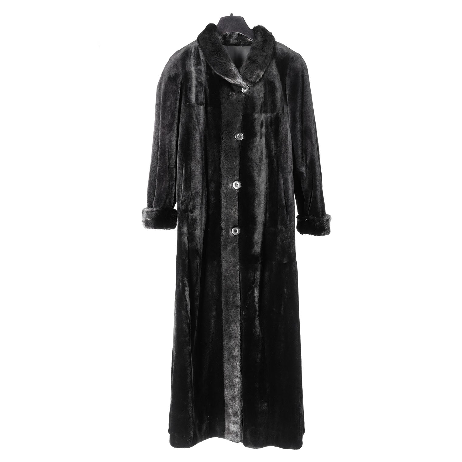Black Sheared Mink Reversible to Rainsilk Coat