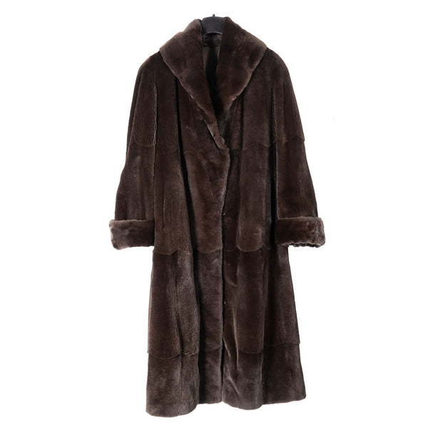 Brown Sheared Mink Full Length Coat Reversible to Rainsilk